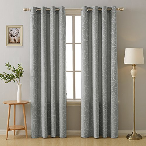(Deconovo Grommet Top Window Curtain Soft Fabric Embossed Triangle Pattern Room Darkening Curtains for Living Room Grey 52x84 Inch 2 Panels)