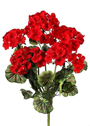 - Red Artificial Flowers Geranium Bush - 20