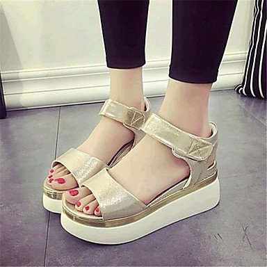 Casual Creepers EU36 Silver Buckle CN36 Bowknot Outdoor Platform Summer Gold Leatherette Women's UK4 US6 wpPatqXx