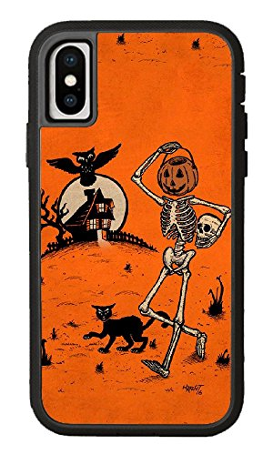 Custom iPhone X Case,Pumpkin Pail Head Skull owl Hard Plastic Hard Case for iPhone ()