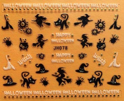 Nail Art 3D Decal Stickers Happy Halloween Black Cat Witch Cauldron Broom JH078 -