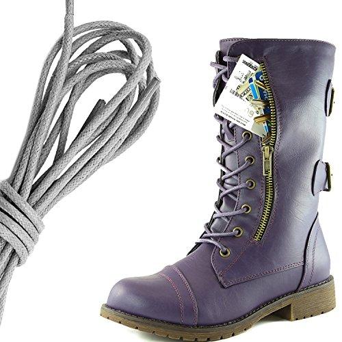 Botas De Combate De Hebilla Con Cordones Militares Para Mujer De DailyZapatos Botas De Cartas De Crédito Exclusivas De Media Rodilla, Gris, Púrpura Dulce