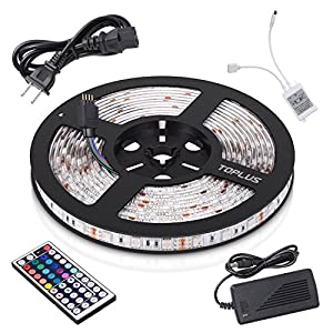 Toplus LED Strip Lights Kit Waterproof SMD 5050 RGB 16.4ft 300LEDs Color Changing Flexible LED Lights with 44Key Remote + 12V 5A Power Supply + IR Control Box