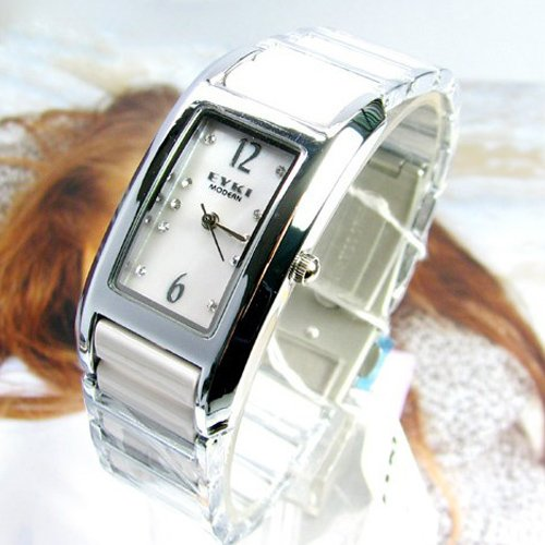 Metro Shop EYKI Graceful Woman Quartz Movement Watch with Rectangle Dial/Metal Band/Crystal Scale-White