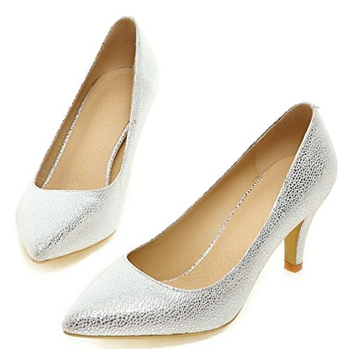 Court High Shoes White Women Heel Basic LongFengMa fqIBaB