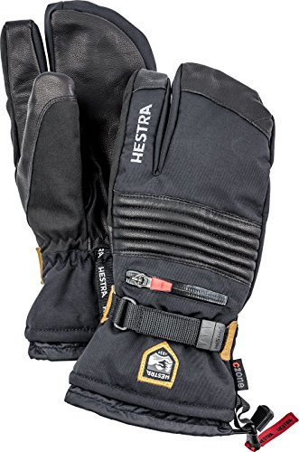 Hestra Ski Gloves for Kids: Youth All Mountain Waterproof C-Zone Winter Cold Weather 3-Finger Mittens, Black, 6