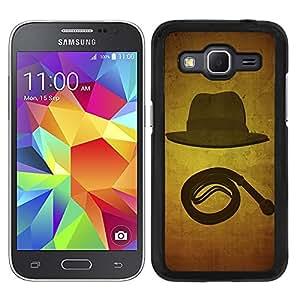 Funda carcasa para Samsung Galaxy Core Prime diseño sobrero y látigo borde negro