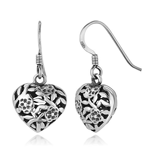(925 Oxidized Sterling Silver Open Filigree Flower Design Puffed Heart Dangle Hook Earrings 1.06
