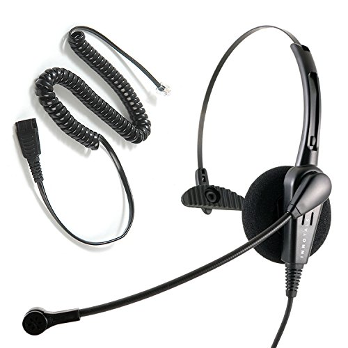 InnoTalk Headset for Avaya Nortel Phone 1120e, 1230, M3903, M7208, M7324, T7324 Headset - Business Grade Economic Noise Cancel Microphone Monaural Headset Compatible with Jabra QD