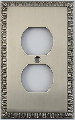 Egg & Dart Satin Nickel One Gang Duplex Outlet Wall Plate
