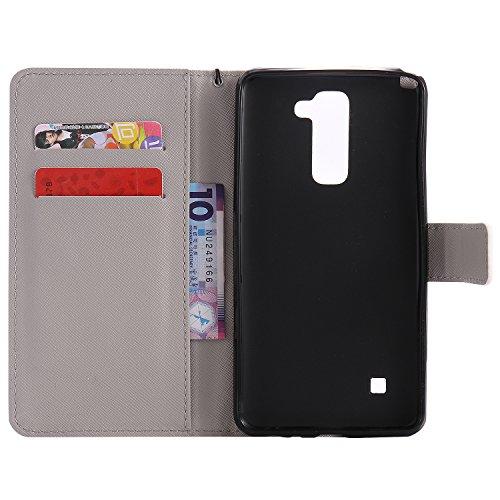 LG LS775 Flip Funda de Cuero KaseHom [Libre Negro Stylus Touch], Folio Magnetic Premium PU Leather Wallet Style con correa de acollador [Ranuras para tarjetas duales] [Kickstand] Diseño de dibujos ani Leopardo Blanco