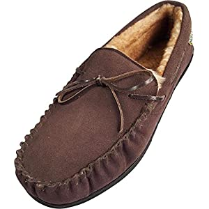 NORTY Mens Genuine Leather Cowhide Suede Slippers – Moccasin Slip On Loafer – Lux Plush Fur Lining