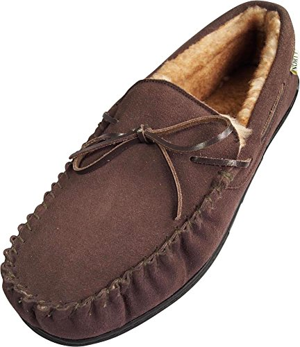 NORTY Mens Genuine Leather Cowhide Suede Slippers - Moccasin Slip On Loafer - Lux Plush Fur Lining