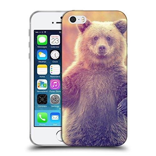 Just Phone Cases Coque de Protection TPU Silicone Case pour // V00004086 Ourson debout dans l'eau // Apple iPhone 5 5S 5G SE