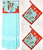 3 Piece Set - 1 Hanging Hand Towel - 2 Potholders - Retro Cats - Cosmic Starbursts - Aqua & Coral