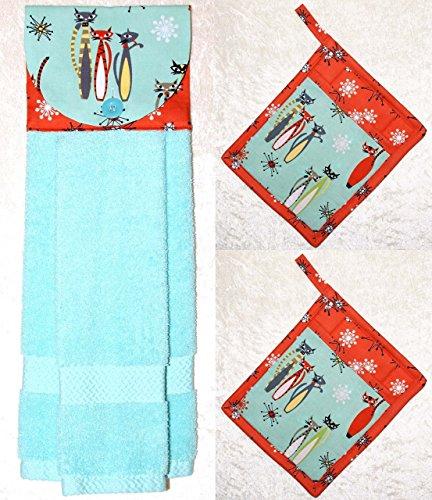 3 Piece Set - 1 Hanging Hand Towel - 2 Potholders - Retro Cats - Cosmic Starbursts - Aqua & Coral by Green Acorn Kitchen