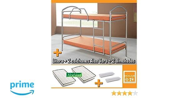 HOGAR24 Litera metálica con somieres + 2 colchones Aloe Vera + 2 Almohadas de Fibra de regalo-90x190cm: Amazon.es: Juguetes y juegos