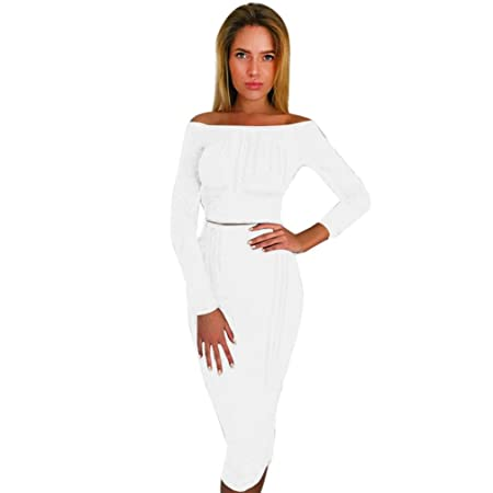 15faa73749 Sunward Women's Off Shoulder Long Sleeve Crop Top Midi Skirt Outfit Two  Piece Bodycon Bandage Dress (S, White): Amazon.co.uk: Kitchen & Home