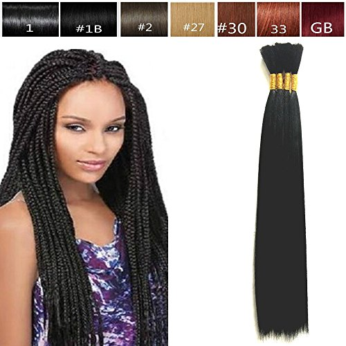 Hot Selling Yaki Bulk Braiding Hair, Human Hair Blend, Braids Hair Extensions for Twists, US SELLER, Length 18', 1 Pack Deal Color #1B Off Black