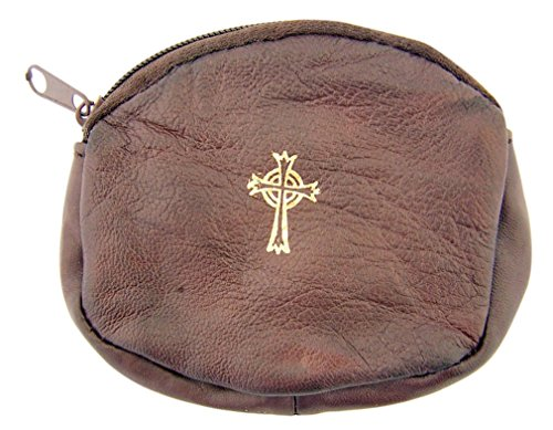 (mds Sheepskin Leather Oval Rosary Case with Gold Stamped Celtic Cross, 3 1/4 Inch (Brown))