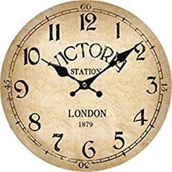 Moonluna London Victoria Rustic Wooden Wall Clock Christmas Farmhouse Gift for Living Room Bedroom Kitchen Home Decor 12 Inches