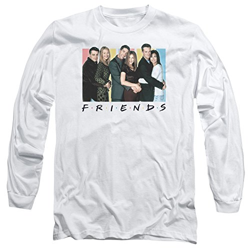 Amazon.com: Friends Cast Logo Mens Long Sleeve Shirt WHITE LG ...
