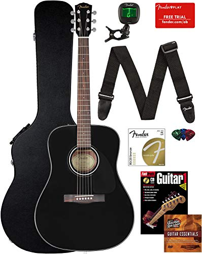 Fender CD-60 Dreadnought Acoustic Guitar – Black Bundle with Hard Case, Strap, Tuner, Strings, Picks, Instructional Book, and Austin Bazaar Instructional DVD