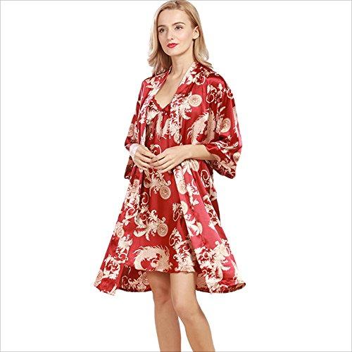 Red Medium The New Simulation Silk Robe Ladies Summer Explosion Pajamas Cardigan Outerwear Suit CUIYAN