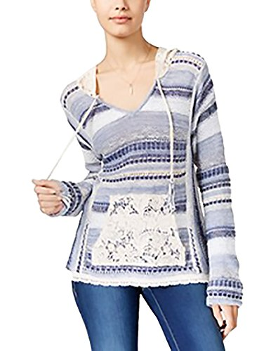 American Rag Womens Juniors Crochet Striped Sweater Blue S
