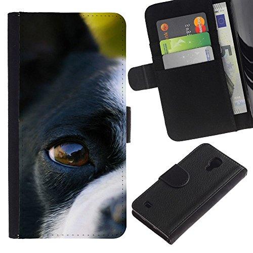 OMEGA Case / Samsung Galaxy S4 IV I9500 / Boston terrier eye dog canine nose / Cuero PU Delgado caso Billetera cubierta Shell Armor Funda Case Cover Wallet Credit Card