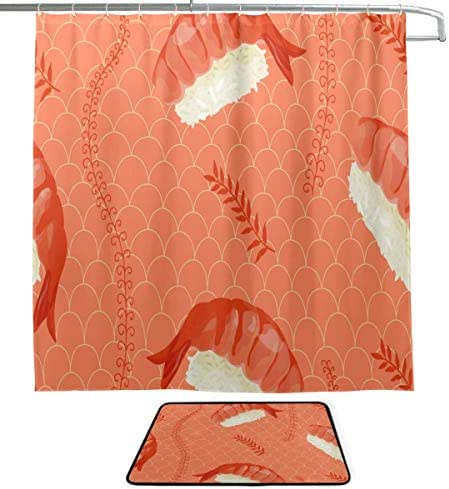 XINGCHENSS Shrimp Seafood Food Nutrition Delicious Single-Sided Printing Shower Curtain and Non-Slip Bath Mat Rug Floor Mat Combination Set with 12 Hooks for Bathroom Decor and Daily Use