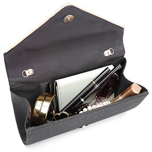 GESU Womens Shining Envelope Clutch Purses Glitter Evening Bag Handbags For Wedding and Party.(Silver) by GESU (Image #4)