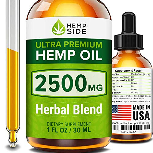 Hemp Oil Drops for Pain, Anxiety & Stress Relief – 2500mg Hemp Omega 3 6 9 Complex – Ultimate Omega Power – Grown & Made in USA – Anti-Inflammatory & Joint Support – No CBD