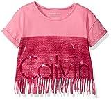 Calvin Klein Big Girls' New Icon Logo Fringe Tee, Pink, M8/10