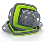 Foldable Collapsible Kitchen Colander 2 Pcs square Collapsible washing up bowl Silicone Strainer Set Filter Food Strainers basket 2 sizes (Green)