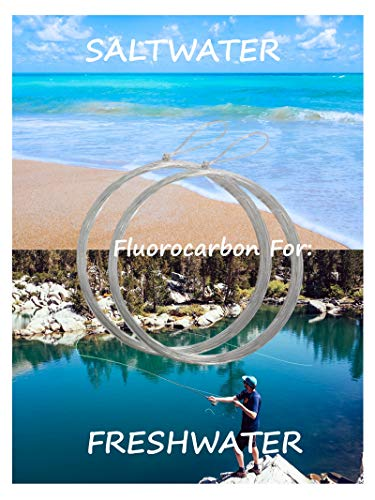 Fly Fishing Leader - Fluorocarbon Leader   Pre Tied Loop   Best Tapered Leader - Fly Fishing Fluorocarbon Tippet - Fly Fishing Gear Leaders - Fly Fishing Tippets   Saltwater - Freshwater   10lb - 9ft
