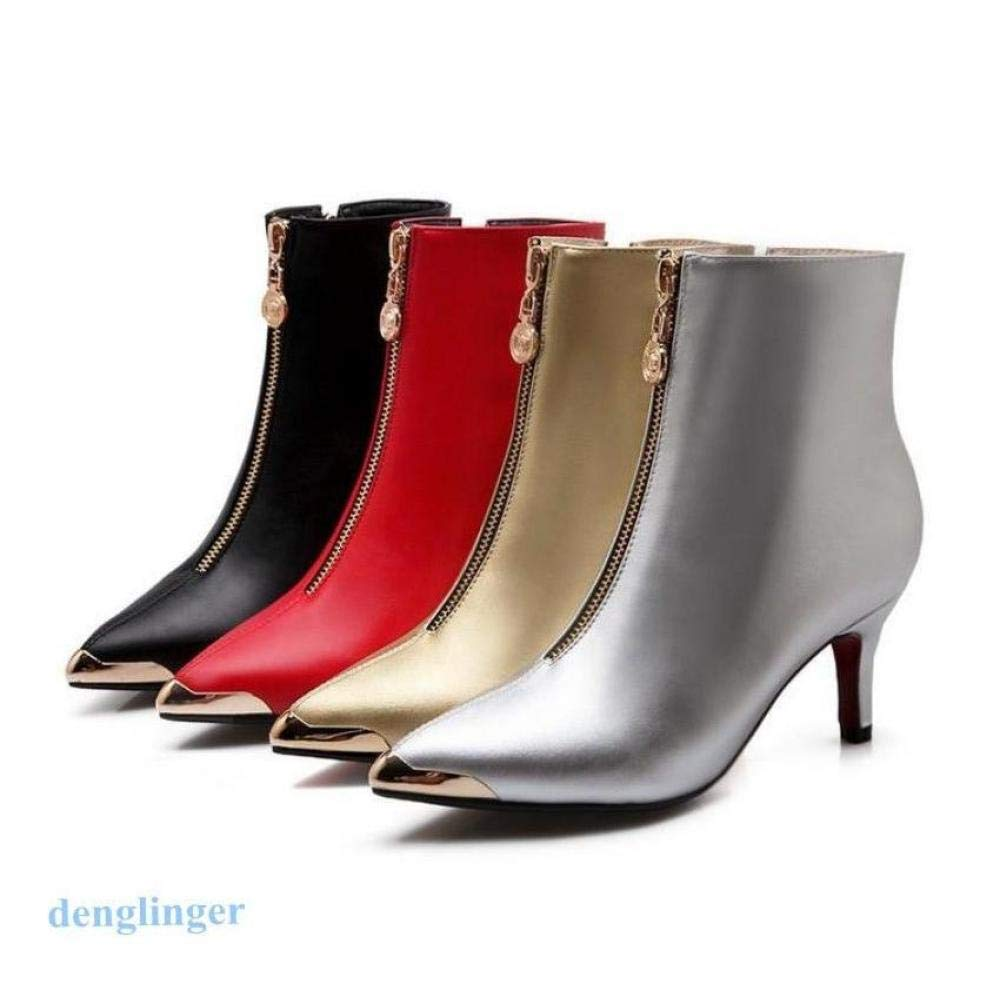 FidgetGear Womens Pointy Toe High Heel Metal Zip Stilettos Ankle Boots Size Kitten