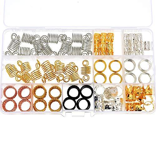 Jetec 130 Pieces Metal Hair Cuffs Hair Braiding Beads Aluminum Dreadlocks Hair Decoration Accessories with Storage Box