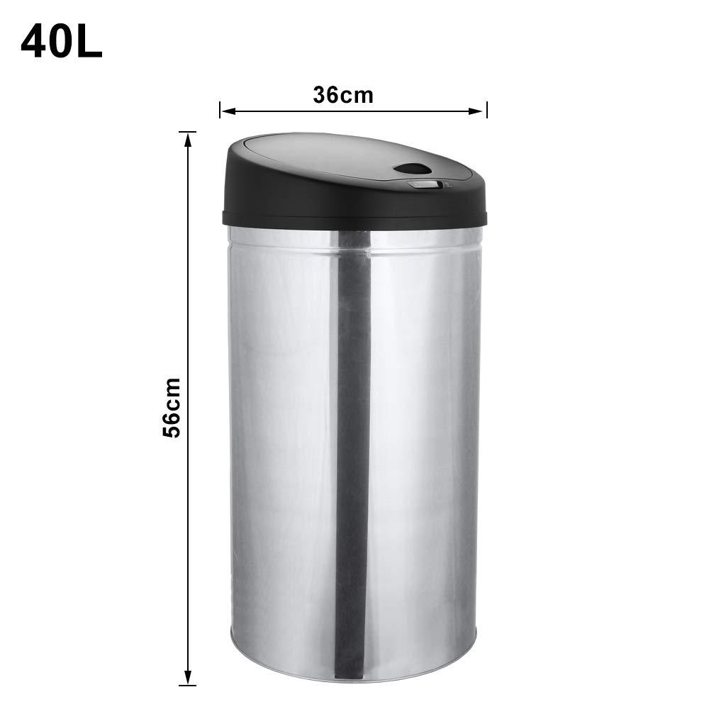 30L Blanco con Tapa Autom/ática WIS Bote de Basura con Sensor para Apertura Autom/ática Sensor de Movimiento Infrarrojo sin contacto