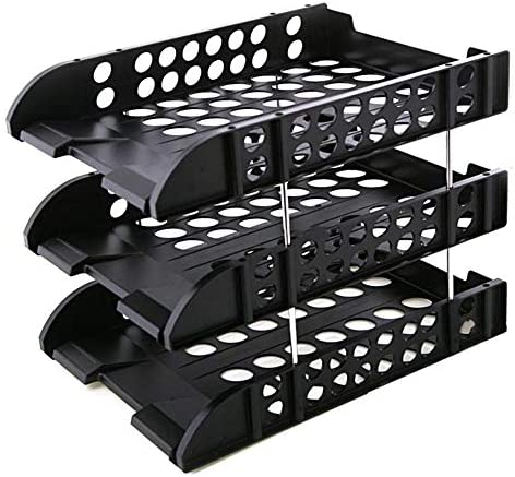 WSJTT Document Organizer 3-Tier Mesh Desktop Datei Organizer Dokument Brief Tray Holder für Büro oder zu Hause (Color : Black)