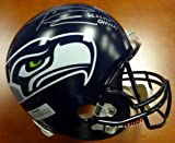 """RUSSELL WILSON AUTOGRAPHED SEATTLE SEAHAWKS SUPER BOWL FULL SIZE HELMET """"SB XLVIII CHAMPS"""" IN SILVER RW HOLO STOCK #72351"""