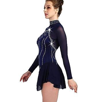 Vestido De Patinaje Artístico Mujer / Chica Patinaje Sobre Hielo Vestidos Azul Real / Azul Marino