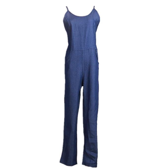 BOMOVO Monos Mujer pantalones vaqueros babero pelele azul: Amazon.es: Ropa y accesorios