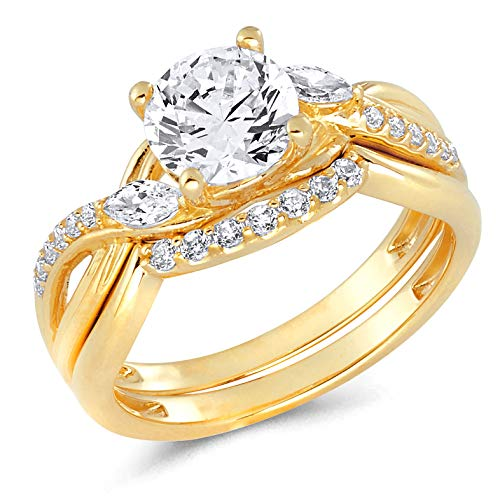 Wellingsale Ladies 14K Yellow Gold CZ Cubic Zirconia Engagement Ring + Wedding Band Bridal Set - Size 8