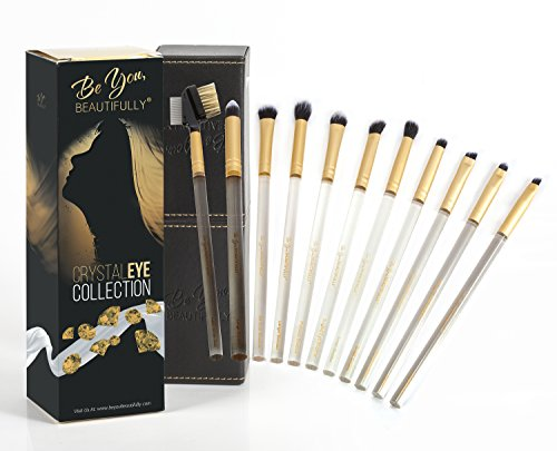Eye Detailer Brush (Exquisite 10 Piece Eye Brush Set | Crystal Eye Collection from Be You, BEAUTIFULLY | Professionally Designed With Bonus Lash/Brow Brush - Vegan, Hand Cut & Hand Made Brushes)