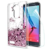zte imperial ll phone cases - ZTE Zmax Pro Z981 Case,ZTE Max XL N9560 / BladeMax 3 Z986 / Imperial Max Z963U / Carry Liquid Case,LeYi Moving Glitter Shiny Quicksand Girls Women Clear TPU Phone Case for ZTE Z981 ZX Rose Gold