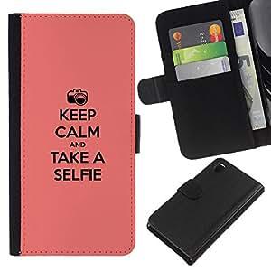 iBinBang / Flip Funda de Cuero Case Cover - Guarde la calma y selfie - Sony Xperia Z3 D6603