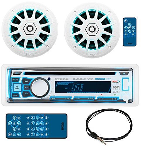 BOSS AUDIO MCK762BRGB.6 Marine Package Includes MR762BRGB Single-DIN AM/FM CD Bluetooth Receiver, One Pair 6.5
