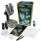National Geographic Dual LED Student Microscope – 50+ Pc Science Kit Includes Set of 10 Prepared Biological & 10 Blank Slides, Lab Shrimp Experiment, 10X-25X Optical Glass Lenses & More! (Silver)