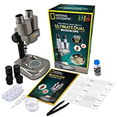 Teach your child about the history of microscopes, proper slide preparation, biology and more!Enjoy the thrill of discovery with National Geographic's Dual Microscope Science Kit. More than a toy, this is a fascinating STEM learning activity that inc...